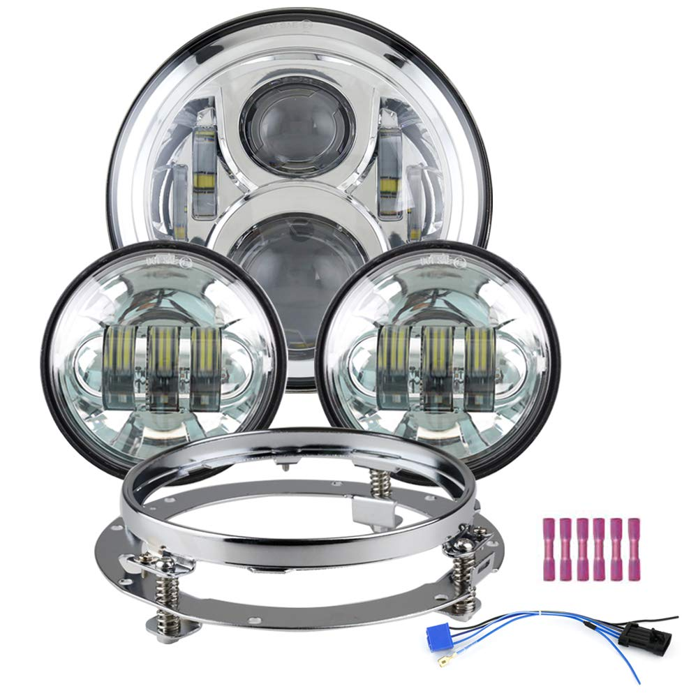 """7 inch Led Headlight with 2pcs 4-1/2"""" 4.5 inch Passing daylight Motorcycle Led headlight assembly Kit for Touring Road King Street Glide Fat boy with Mounting Ring 7 inch (Headlight kits Chrome)"""