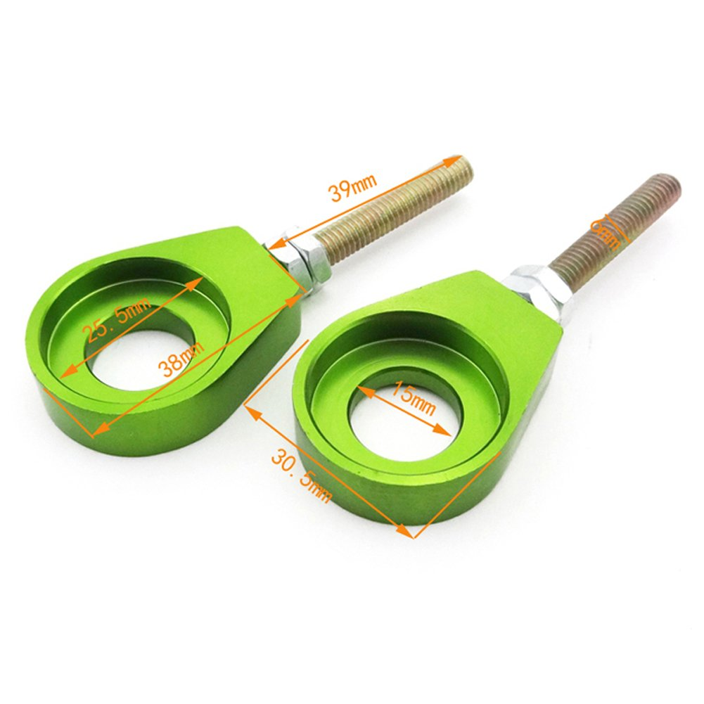 TC-Motor Green 15mm Alex Block Chain Adjuster Pulley For Chinese XR CRF 50 KLX110 SSR Thumpstar Pit Dirt Bike Motorcycle 50cc 70cc 90cc 110cc 125cc 150cc 160cc