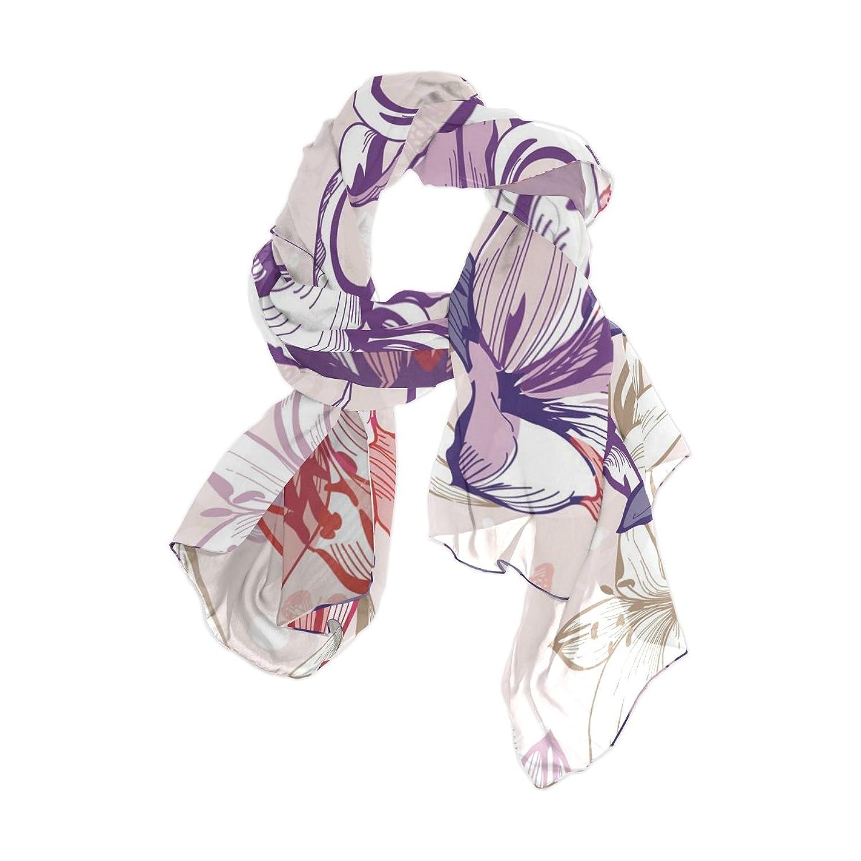 Senya Women's Fashion Large Long Sheer Silk Scarf Shawl Wrap, Floral Pattern