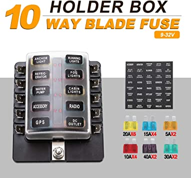 Car SUV Marine 10-Way Blade Fuse Box Block Holder Red LED Indicator with Cover