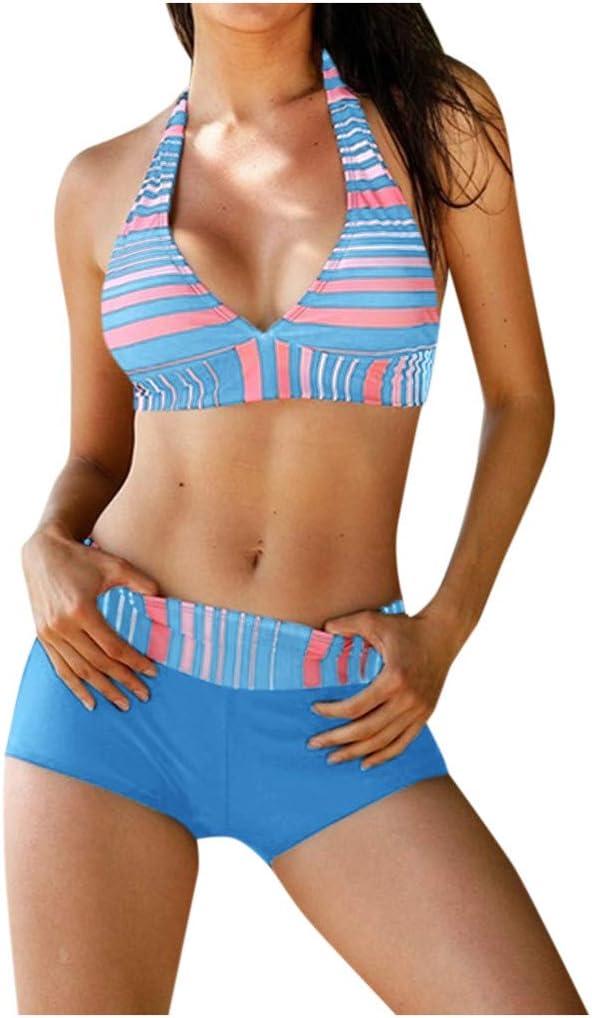 Moudozsdi Women Two Piece Swimsuit Deep V Neck Halter Push Up Top with Boyshort Athletic Bathing Suit Blue