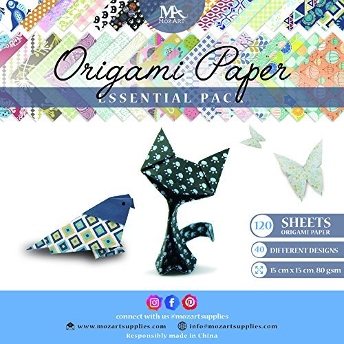 MozArt Supplies Origami Paper Set - 120 Sheets - Traditional Japanese Folding Papers including Floral, Animal Prints, Aztec, Geometric - Origami Papers for Kids & Adults]()