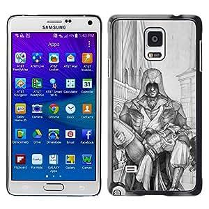 GOODTHINGS Funda Imagen Diseño Carcasa Tapa Trasera Negro Cover Skin Case para Samsung Galaxy Note 4 SM-N910F SM-N910K SM-N910C SM-N910W8 SM-N910U SM-N910 - la mujer del hombre que lleva el dibujo del arte héroe lápiz