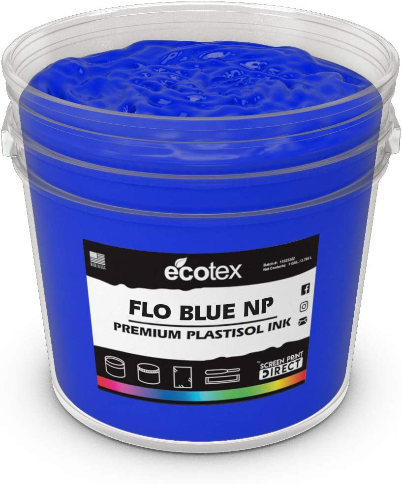 Ecotex Fluorescent Blue Plastisol Ink for Screen Printing - Non Phthalate Formula - All Sizes (Quart)