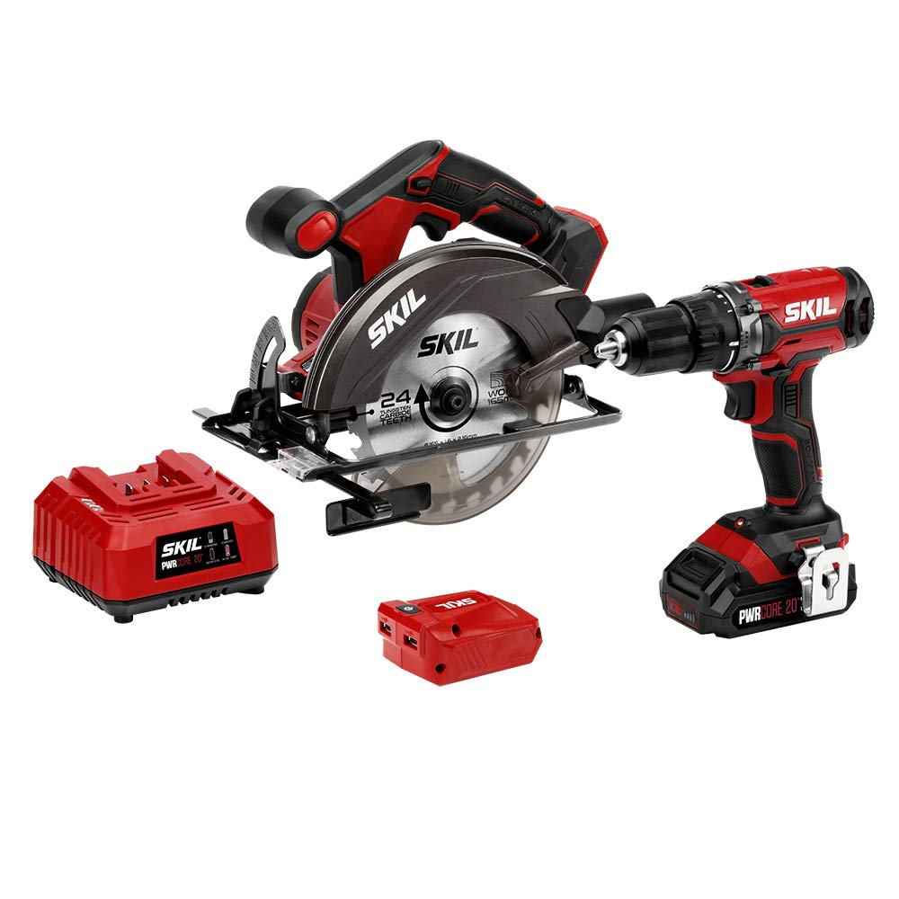 SKIL 20V 3-Tool Combo Kit 20V Cordless Drill Driver, Circular Saw and PWRAssist 20 USB Charging Adapter, Includes 2.0Ah PWRCore 20 Lithium Battery and Charger – CB739301