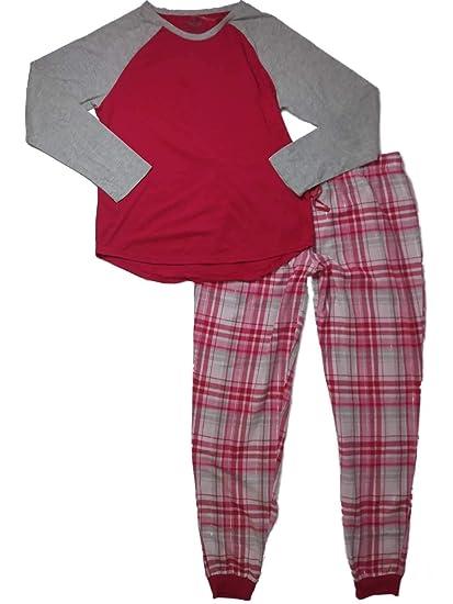 f7985c3f4b82 Womens Pink Gray   Silver Flannel Plaid Tartan Pajamas Checker Print ...