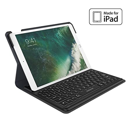 dodocool 10.5 pouces iPad Pro Smart Keyboard avec Smart Connector, QWERTY Clavier Wireless avec Housse de Protection, Bouton de rétro-éclairage,Sommeil / réveil auto et Porte-stylo Apple Crayon intégré