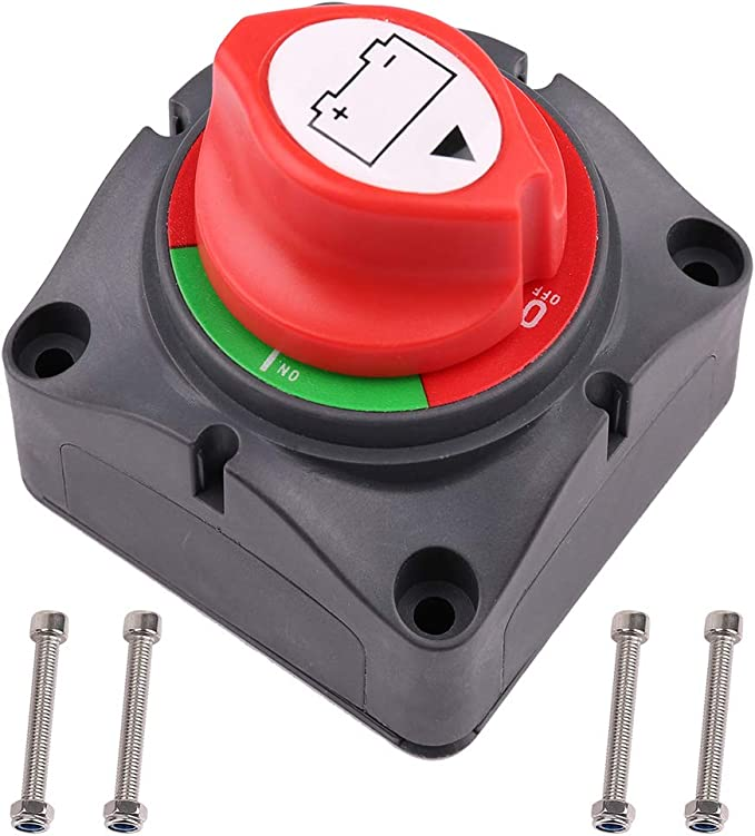 LotFancy Top Post Battery Disconnect Switch for Car Auto Truck Boat RVs ATV Motorcycle Battery Cutoff Switch 12V 24V Knob Type Heavy Duty Battery Kill Switch 125//500 Amps