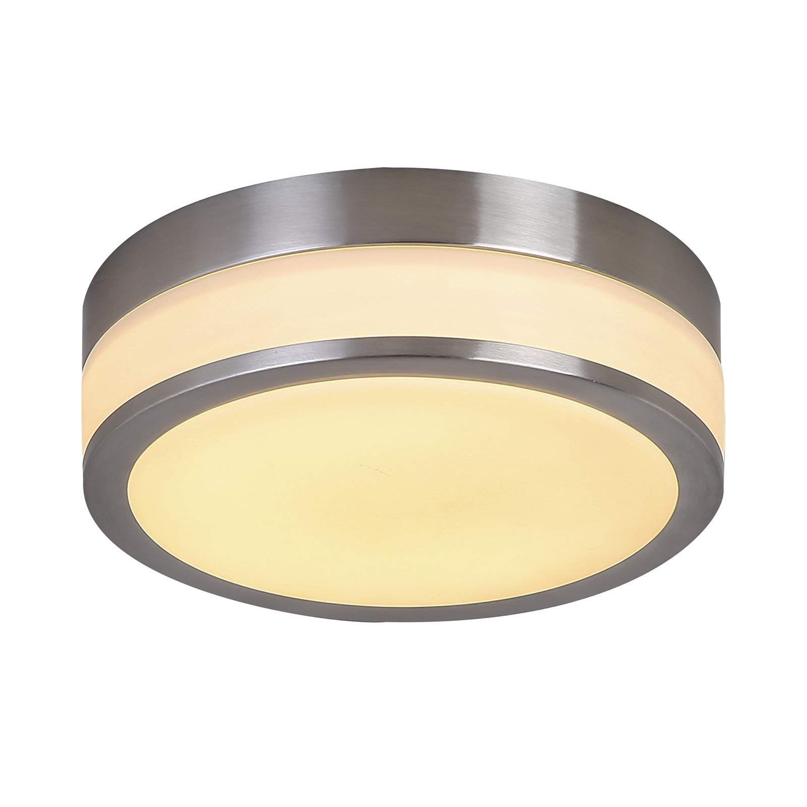 Auffel Glass Shade LED Ceiling Light,Morden Flush Mount Dimmable Light Fixture,Metal Frame Round Decor Fixtures,3000K Warm White 1320ML100W Incandescent Bulbs Equivalent for Bedroom,Balcony,Bathroom,