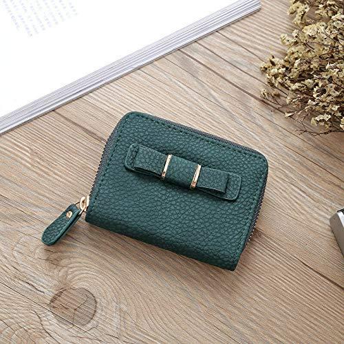 Womens Bowknot Wallets Handbags Leather Purses Clutch Chain Fashion Money Clip (Color - Dark Green)