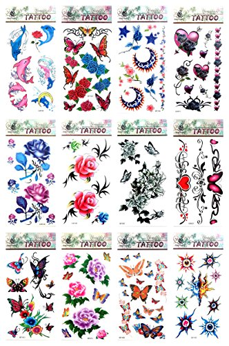 12 sheets rose sun flower moon butterfly temporary tattoo Temp Tattoos for Adults