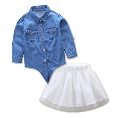 Kehen Mommy And Me Kids Toddler Girl Denim Shirt Tops Tutu Skirt Summer Family Dress Matching Clothes Outfits