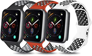 YILED [Pack 3] Bands Compatible with Apple Watch Band 38mm 40mm 42mm 44mm, Soft Silicone Replacement Band for iWatch Series 6 5 4 3 2 1 SE (Gray/Red Black/White Black, 42mm/44mm M/L)