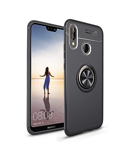Anfire Funda Huawei P20 Lite, Hebilla de Anillo Carcasa Soporte Rotación de 360 Grados Suave Silicona Gel TPU Case Función Magnética Flexible Cover ...