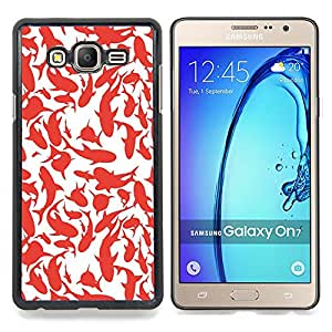 Stuss Case / Funda Carcasa protectora - Pintura Ballenas Tiburones Rojo blanco del arte - Samsung Galaxy On7 O7