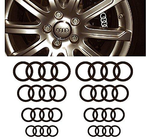 Audi Ringe window- brake caliper- mirror decal - 8 pcs in Set (white)