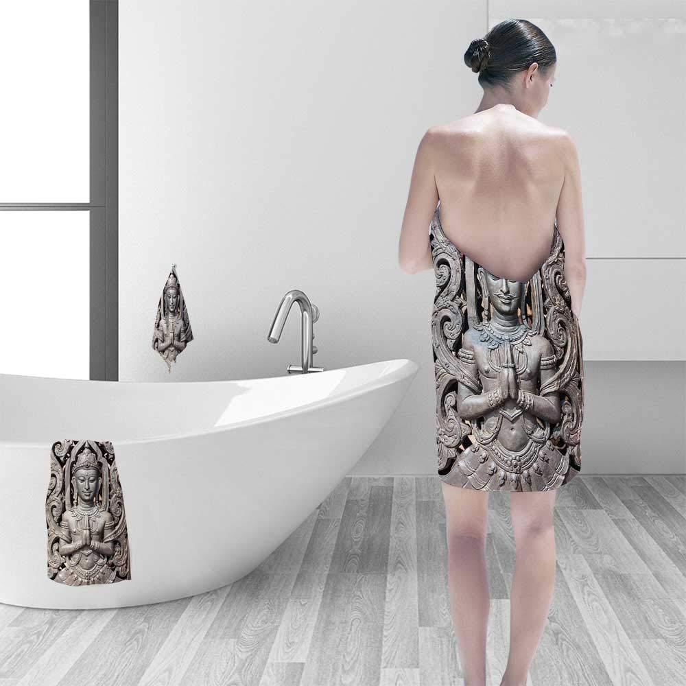 Luxury Elegant Bath Towels Collection Antique Buddha in Traditional Thai Art with Swirling Floral Patterns Carving Japanese Luxury Hotel & Spa Towel