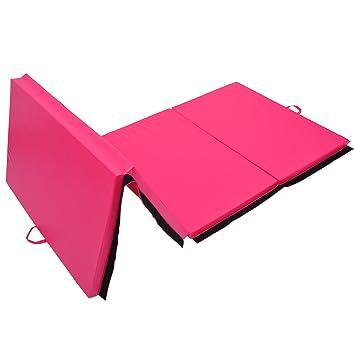 homcom tapis de gymnastique pliable natte de gym matelas fitness 305x122x5cm rose - Tapis Gym