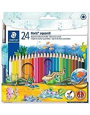 Staedtler 144 10NC24 Noris Club Aquarell kredki akwarelowe plus pędzelek do farby, różne kolory, opakowanie 24 szt.