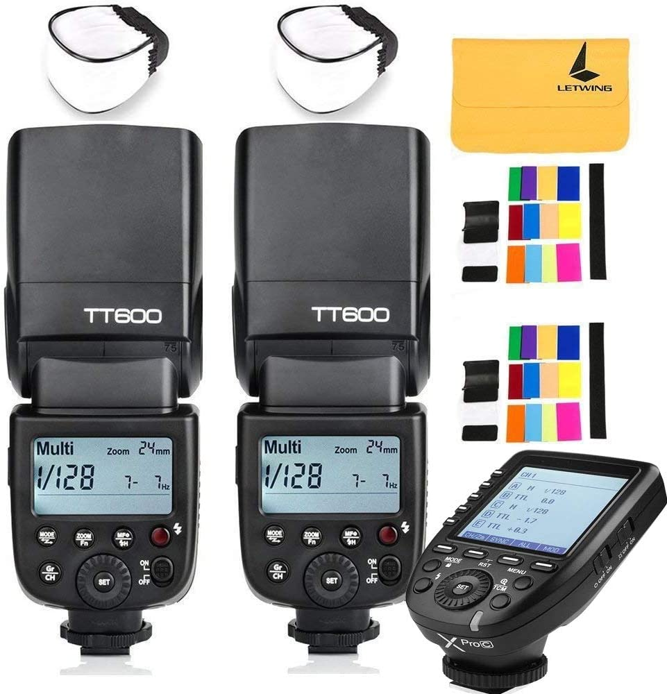 GODOX TT600 2.4G Wireless 3X Camera Flash Speedlite,GODOX XPro-N Wireless Flash Trigger Compatible with Canon EOS Series Cameras,3X Diffuer,3X LETWING Color Filter