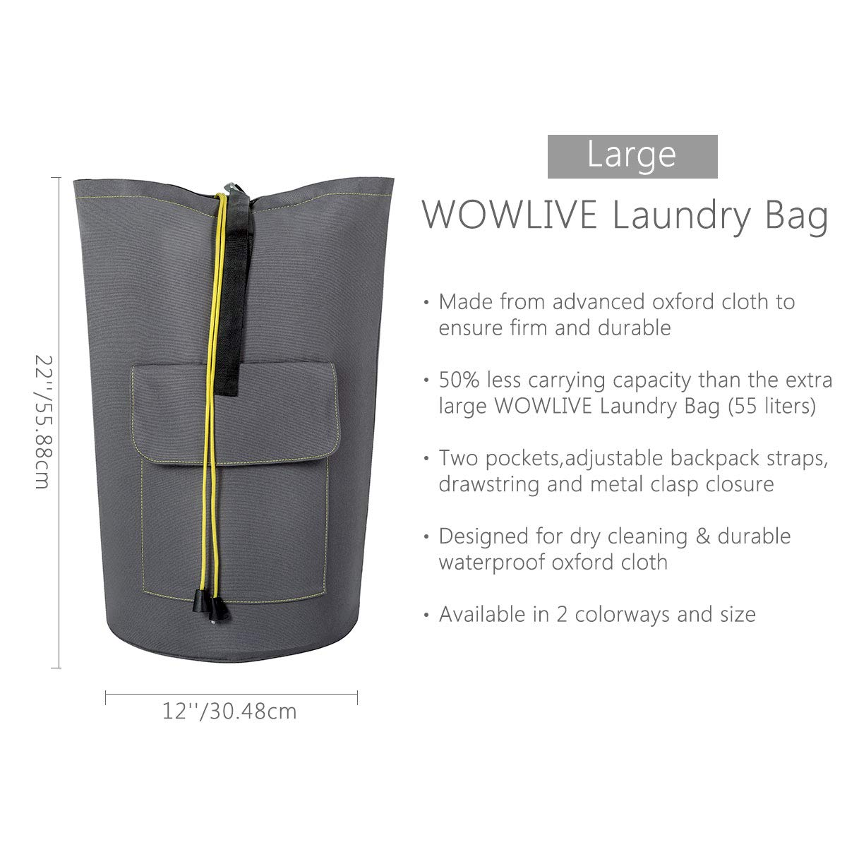 Amazon.com  WOWLIVE Large Laundry Bag Laundry Backpack Hanging Laundry  Hamper Adjustable Shoulder Straps Camping Bag Waterproof Durable Travel  Collage ... 407762f8cd20f
