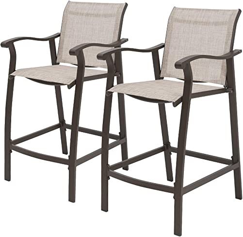 Crestlive Products Outdoor Counter Height Bar Stools Classic Patio Bar Chairs with Heavy Duty Aluminum Frame in Antique Brown Finish, 2 PCS Set Beige