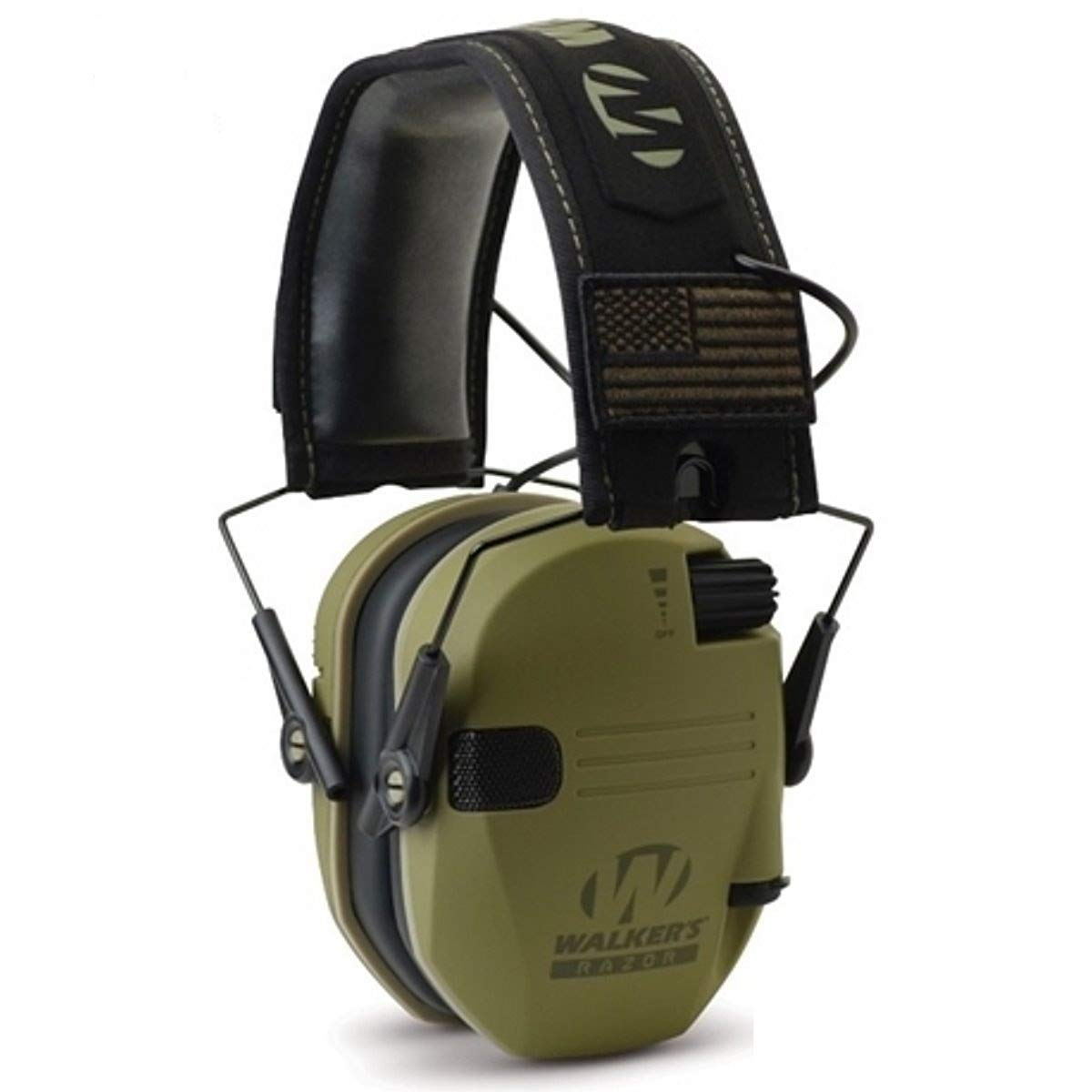 Walkers Razor Slim Electronic Hearing Protection Muffs with Sound Amplification and Suppression and Shooting Glasses Kit, OD Olive Drab Green Patriot by Walkers (Image #3)