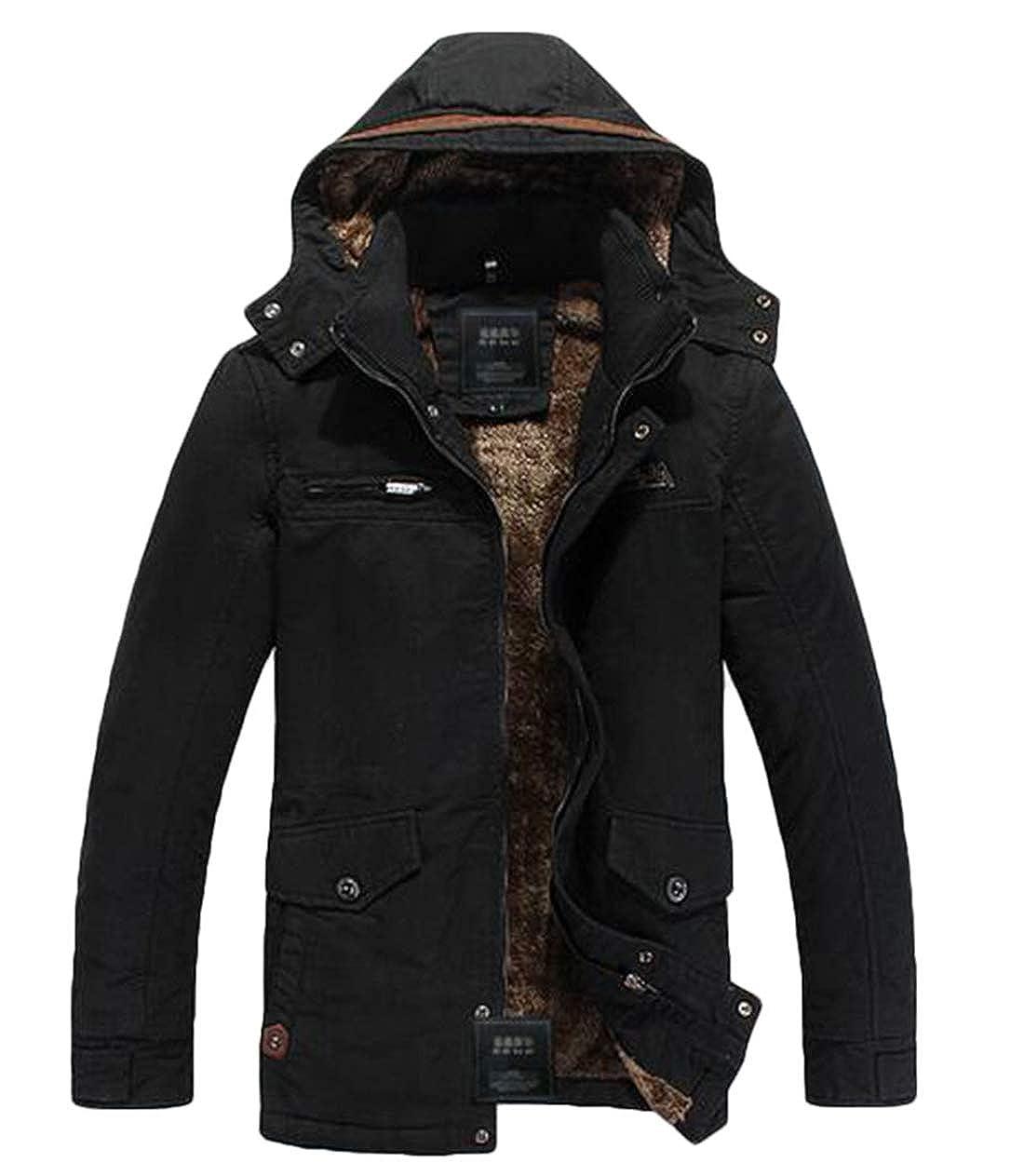 Spirio Men Warm Fleece Lined Cotton Vintage Winter Hooded Outwear Coat Parka Jacket