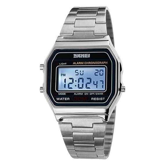 A prueba de agua reloj digital retro/Relojes de moda de los hombres/ reloj de múltiples funciones de acero-B: Amazon.es: Relojes