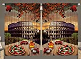 italian backdrop - Rome Colosseum Italy Pizza Fall Leaves 55 W X 39 L Inch European Italian Picture Kitchen Dining Room Pizzaria Vintage Home Decor Curtain Panels Art Prints 2 Panel Curtains Machine Washable