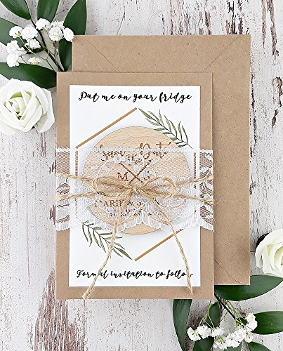 Lace Wedding Save The Dates Romantic Wood Save The Date Magnet Rustic Save The Date Wood Save The Date Rustic Magnet
