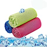 Sport Cooling Towel 3 Pack Microfiber Quick Dry Towel for Travel Hiking Camping Yoga Fitness Gym Running 36 inch x 12 inch - Red Blue Green