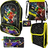 Lego Batman 5pc Backpack, Lunch Bag, Cinch Sack, Wallet and Tote Set