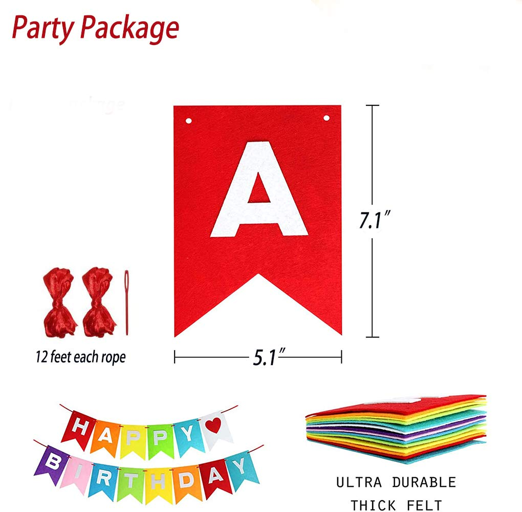 Colorful Bunting with Cute Heart Happy Birthday Decorations Happy Birthday Party Supplies for Girls Boys Rainbow Happy Birthday Banner Felt Fabric