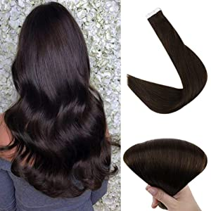 Full Shine Pure Darkest Brown Short Tape In Hair Extensions 12 Inch Color #2 100% Real Tape Hair Straight Double Side Tape In Remy 30G 20 Pieces 7A Brazilian Hair Glue In Human Hair