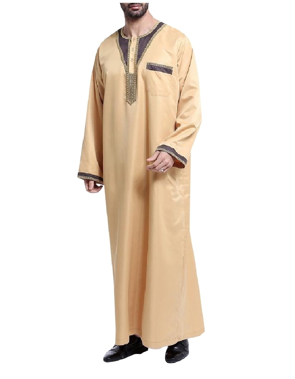 Highisa Mens Islamic Crewneck Patchwork Summer Muslim Thobes Dishdasha Yellow XL