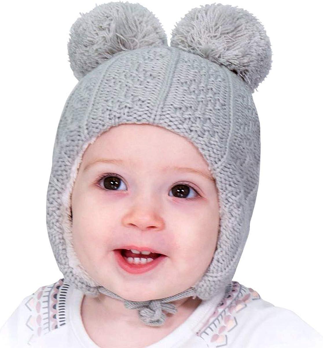 Bear Ears Hudson Baby Boy and Girl Cozy Sherpa Hat and Mitten Set Bear Ears