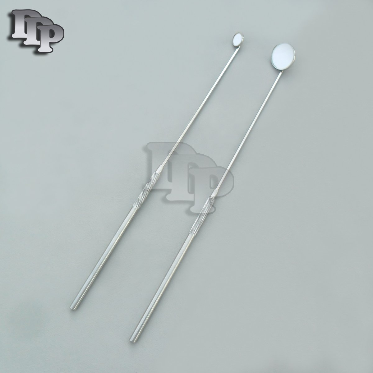 SET OF 2 LARYNGEAL BOILABLE HYGIENE DENTAL MIRRORS WITH HANDLE #00 #4 (DDP QUALITY)