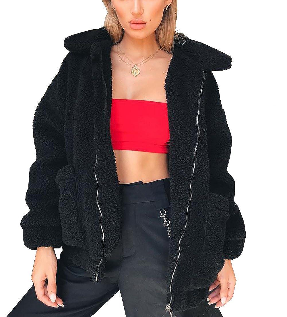 38c89338b1f569 PRETTYGARDEN Women's Fashion Long Sleeve Lapel Zip Up Faux Shearling Shaggy  Oversized Coat Jacket with Pockets Warm Winter at Amazon Women's Coats Shop