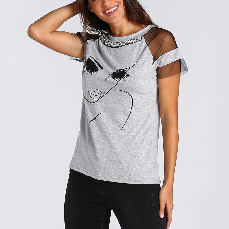 c28a417c9f0e24 ... Hollow Out Strandtops Schräghals Elegant Bluse Schlankheits T Shirt  Erfrischend O-Ausschnitt Oberteil Blusenshirt Frauen Hemden  Amazon.de   Bekleidung