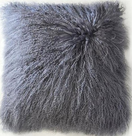 "26""x 26"" Oversized Tibetan / Mongolian Lamb Fur Pillow Cover"