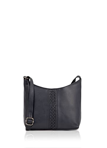 942e62fcb3ea Real Leather Tulisa Cross Body Bag with Plait Detail in Navy Blue ...