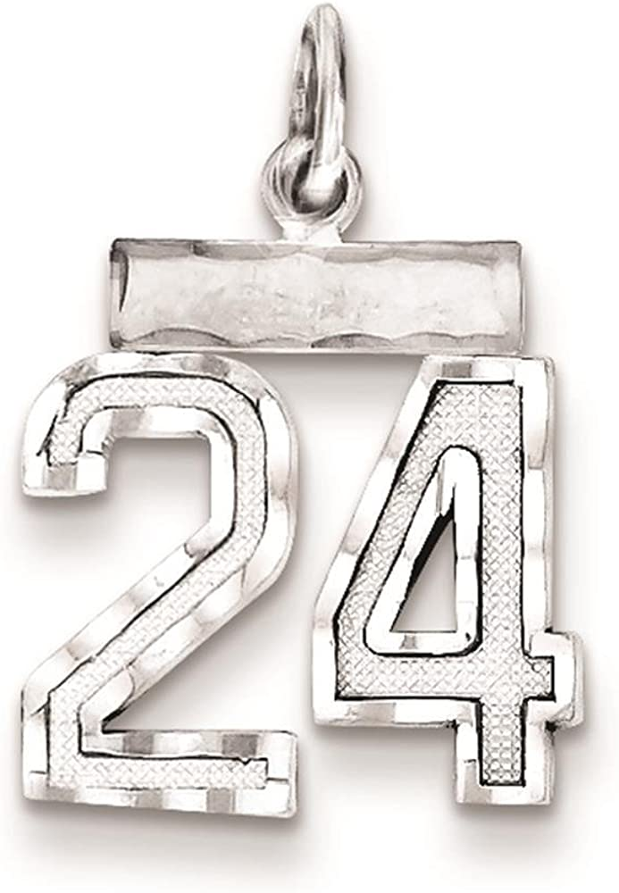 925 Sterling Silver Diamond-cut Small Number 2 Charm Pendant