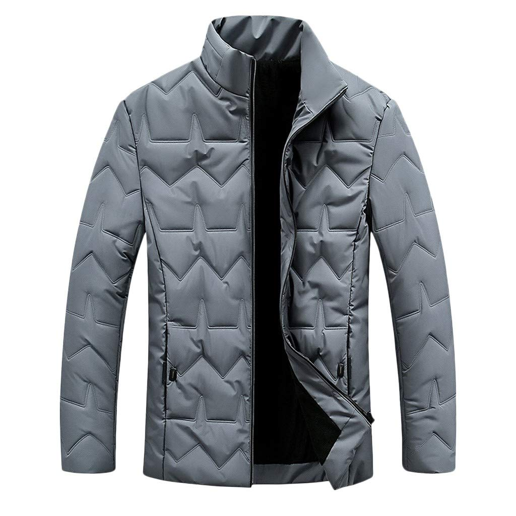 Redacel Men's Winter Warm Jacket Lightweight Outwear Classic Zipper Geometric Line Style Coat (Gray,L) by Redacel