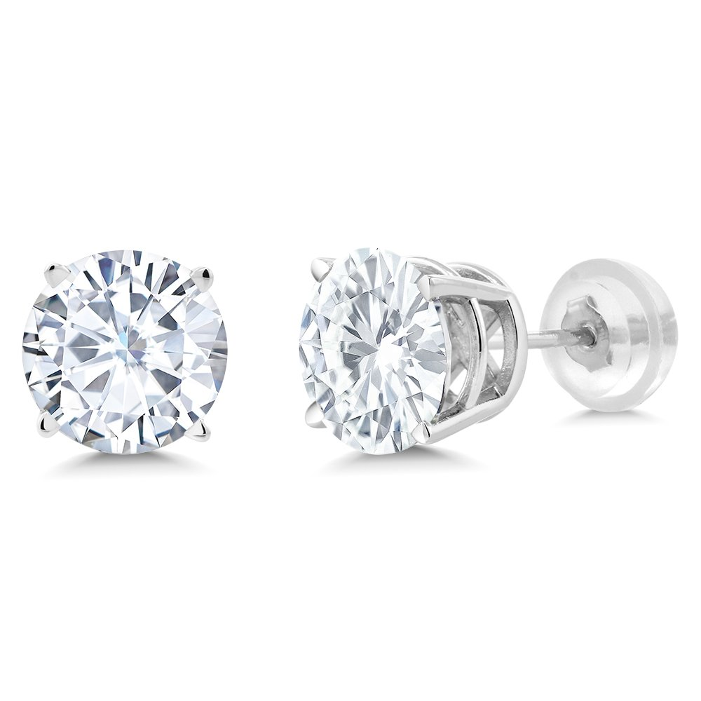 Charles & Colvard Forever One Moissanite 6.5mm 14k White Gold Friction Back Round 4 Prong Stud Earrings 2ct Diamond Equivalent Weight (1.85 cttw, D-E-F, VS-100% Eye Clean) by Gem Stone King (Image #3)