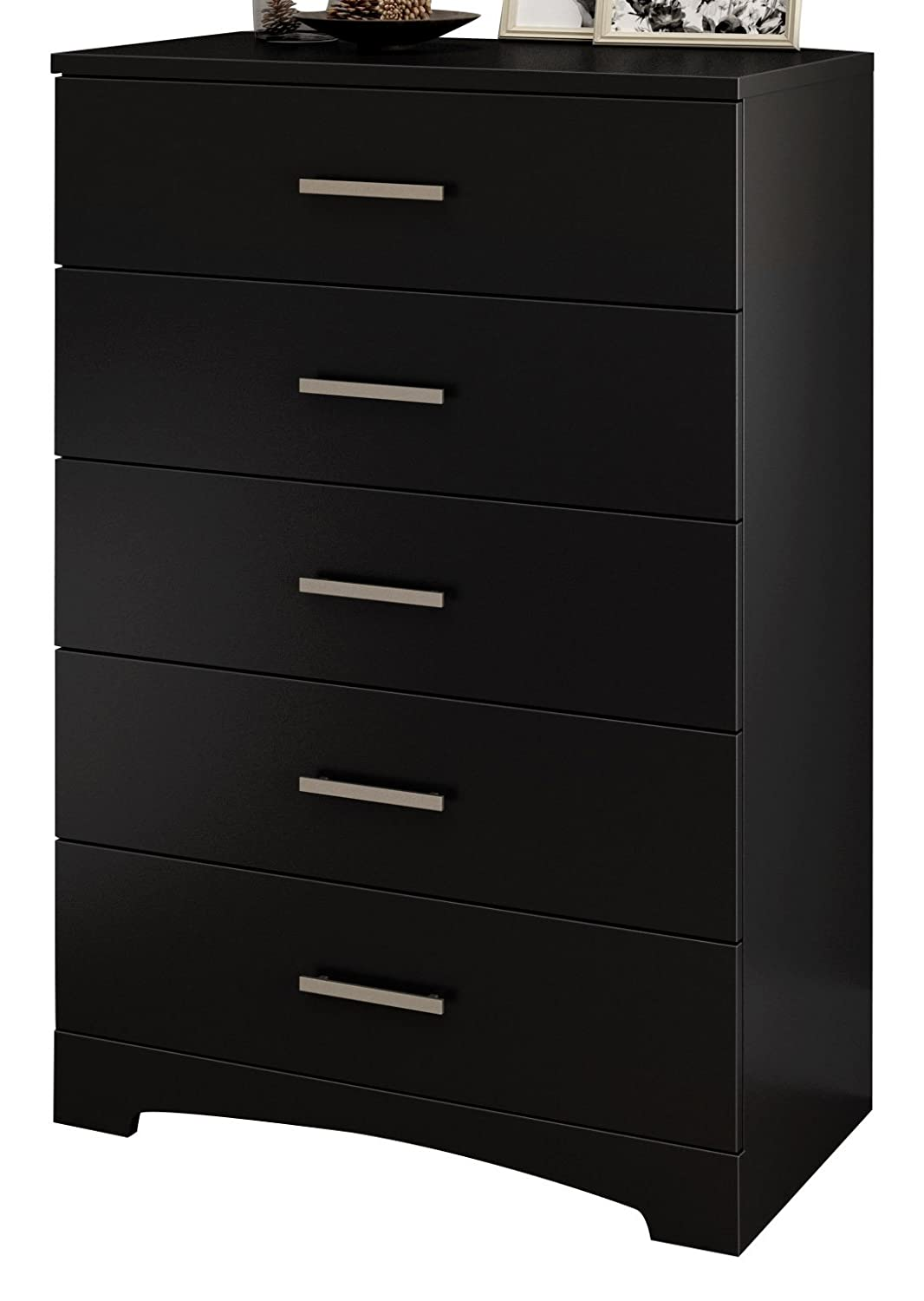 South Shore Gramercy 5-Drawer Dresser, Pure Black with Brushed Nickel Handles 10448