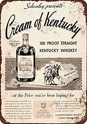 "1934 Cream of Kentucky Straight Whiskey 10"" x 7"" Vintage Look Reproduction Metal Sign"