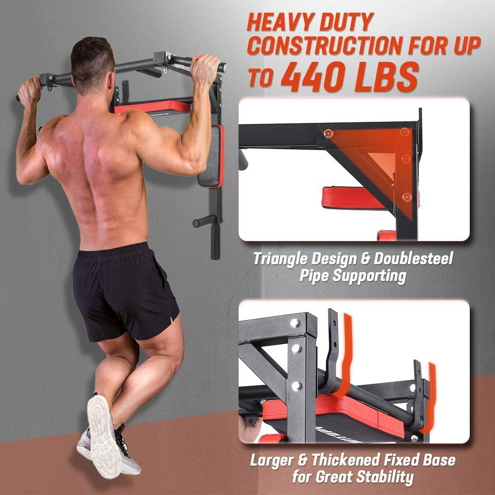 Pull Up Bar Soporte de inmersión montado en la pared Torre de energía Equipo de entrenamiento multifuncional Máquina de ejercicio de entrenamiento de ...