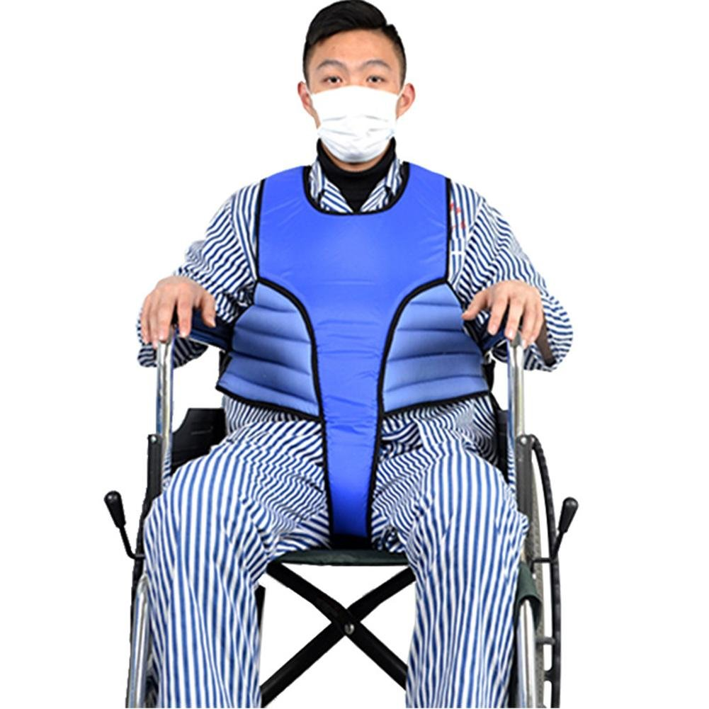 LUCKYYAN 3D Wheelchair Vest Safety Strap / Constraint Band - Waterproof PU Cloth Multi-function Anti-fall Protective Clothing - Medium BLUE