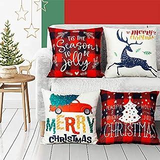 "EPLST Set of 4 Pillow Covers Christmas Decorative Throw Pillow Covers Vintage Wood Moose Deer Elk Bear Farmhouse Home Decor Cotton Linen Pillow Case Cushion Cover 18"" x 18"""